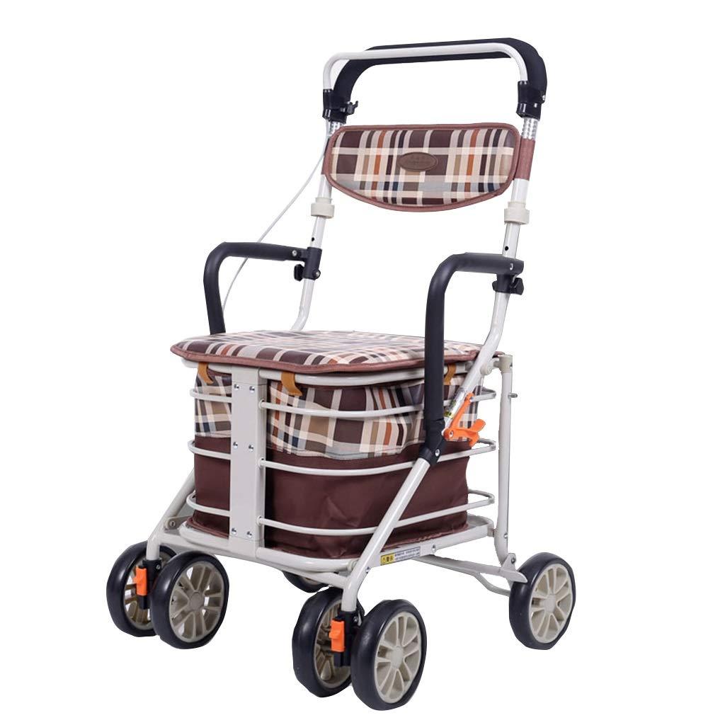 老人ショッピングカートトロリーウォーカーシートスクーター付き折りたたみ車椅子ポータブルトロリーギフト缶クマ100キログラム (Color : BROWN, Size : 50*52*86) B07SB1SYHQ BROWN 50*52*86
