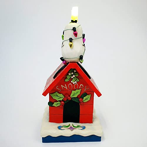 Enesco Peanuts Jim Shore Snoopy Woodstock Doghouse Merry and Bright Figurine 4052719