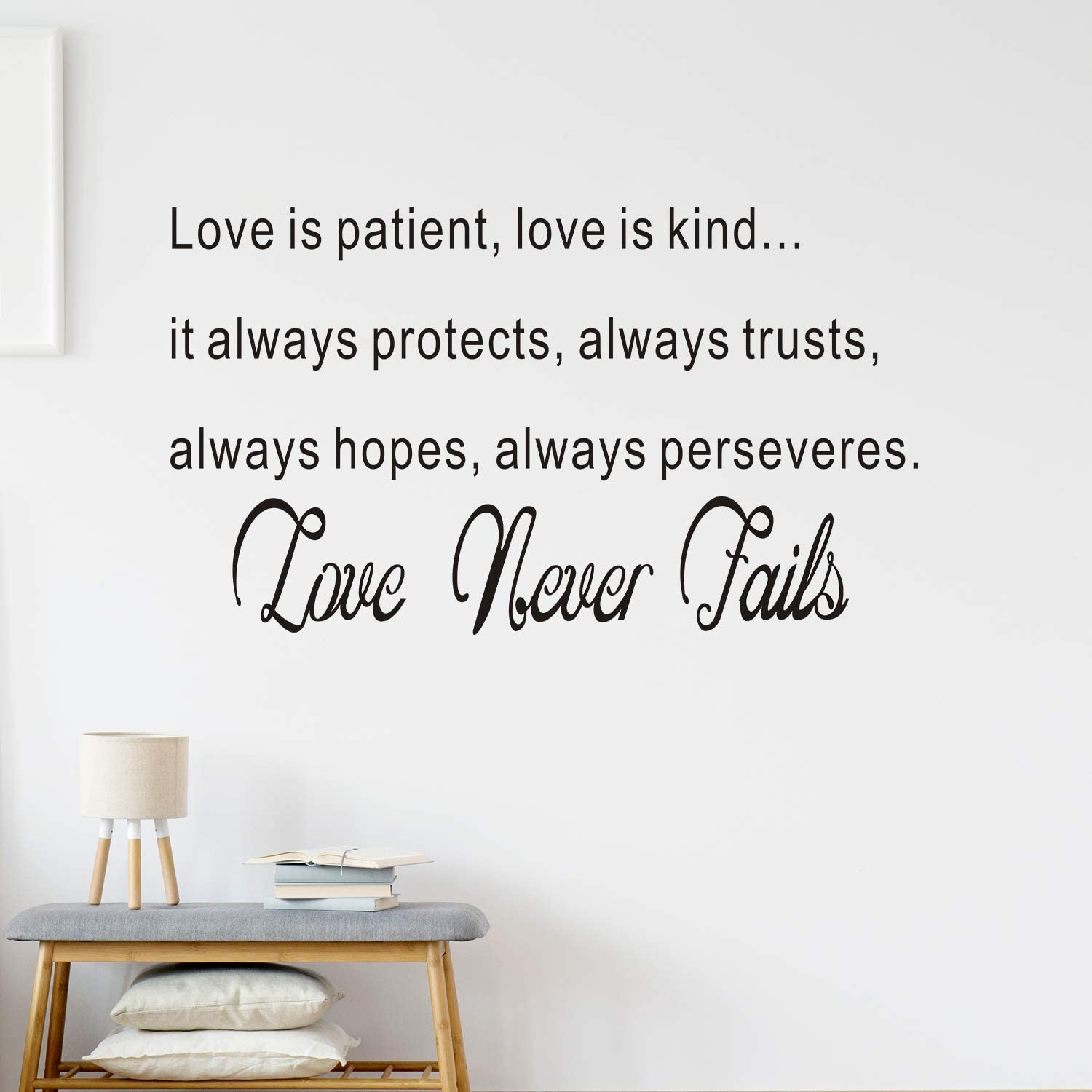 VODOE Quotes Wall Decal, Bedroom Wall Decal, Women Girls Living Room Wedding Blessed Couple Marriage Picture Sign Home Art Decor Vinyl Stickers Love is Patient Love is Kind Love Never Fails 28