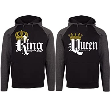 82e15f1c SR Couple Matching King Queen Crown Two Tone Raglan Hoodie Pullover Hooded  Sweatshirt-BLACKCHARCOAL-