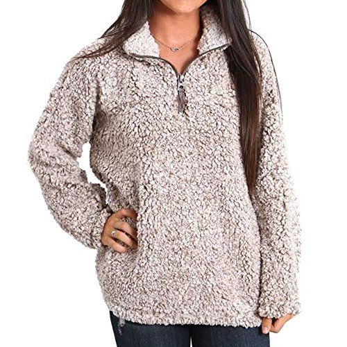 Dylan by True Grit Women's Frosty Tipped Stadium Pullover with Pockets, Brown, XS (Frosty Pebbles)