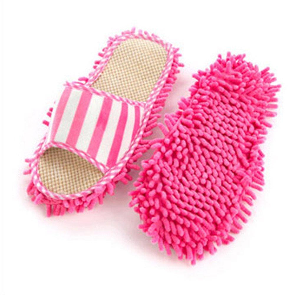 2 Pack- Slipper Genie Microfiber Pair House Floor Polishing Dusting Cleaning Foot Socks Shoes Mop Slippers Blue Lopkey