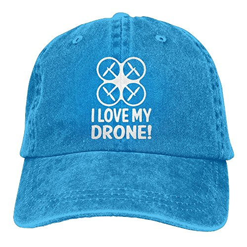 E Isabel Love My Drone Adjustable Mountain Climbing Cotton Washed Denim Caps Royalblue
