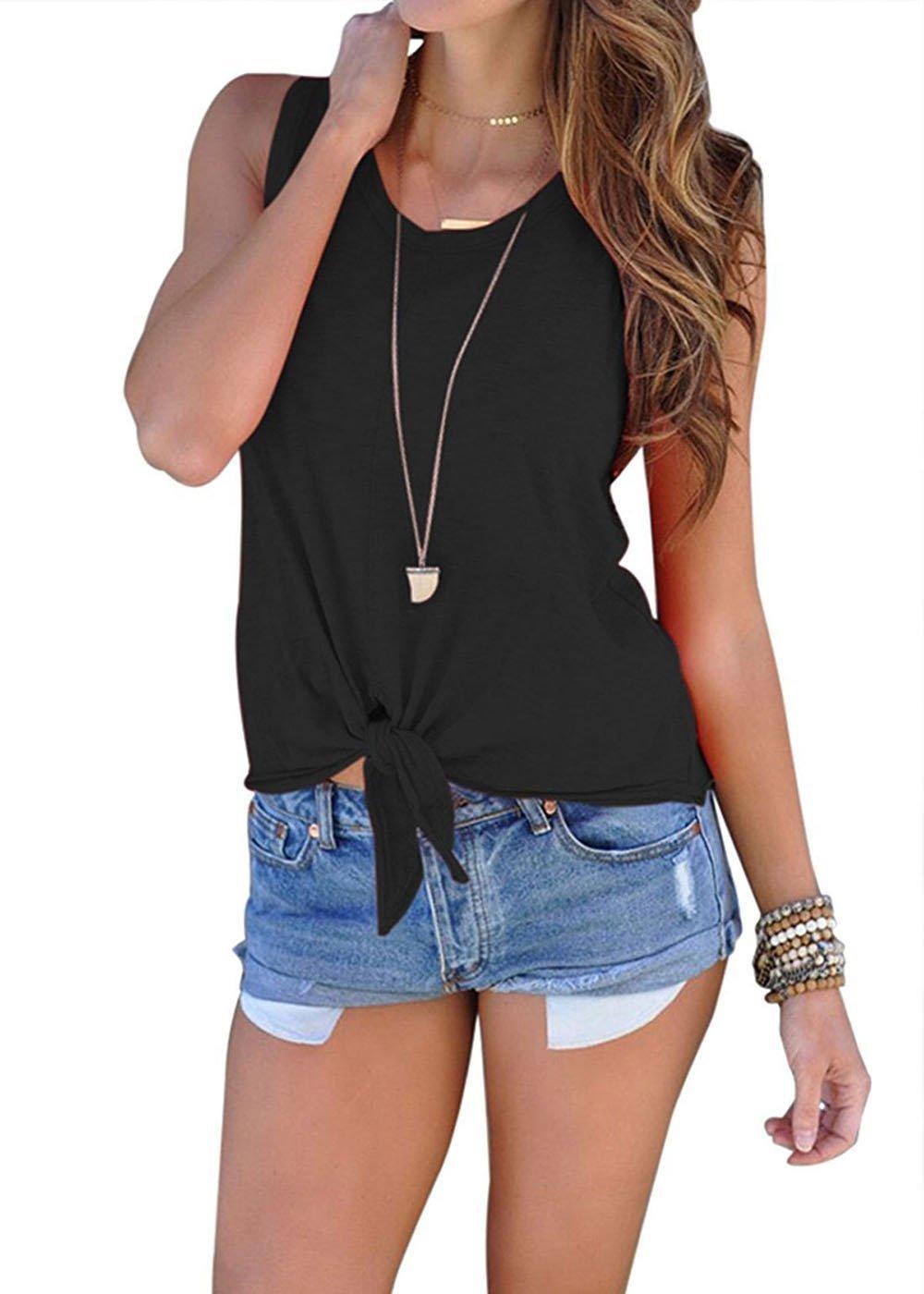 Tiaoqi Women's Summer Casual Sleeveless Shirts Blouses Front Tie Cami Black Tank Tops (Black, M)