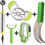 PIMWA Fullest Fruit Vegetable Cutting Set- Fruit Vegetable Slicer Kit- Vegetables Fruits Slicer, Chopper, Peeler,Melon Baller with Carving Knife 5 in 1 Home Kitchen Kit