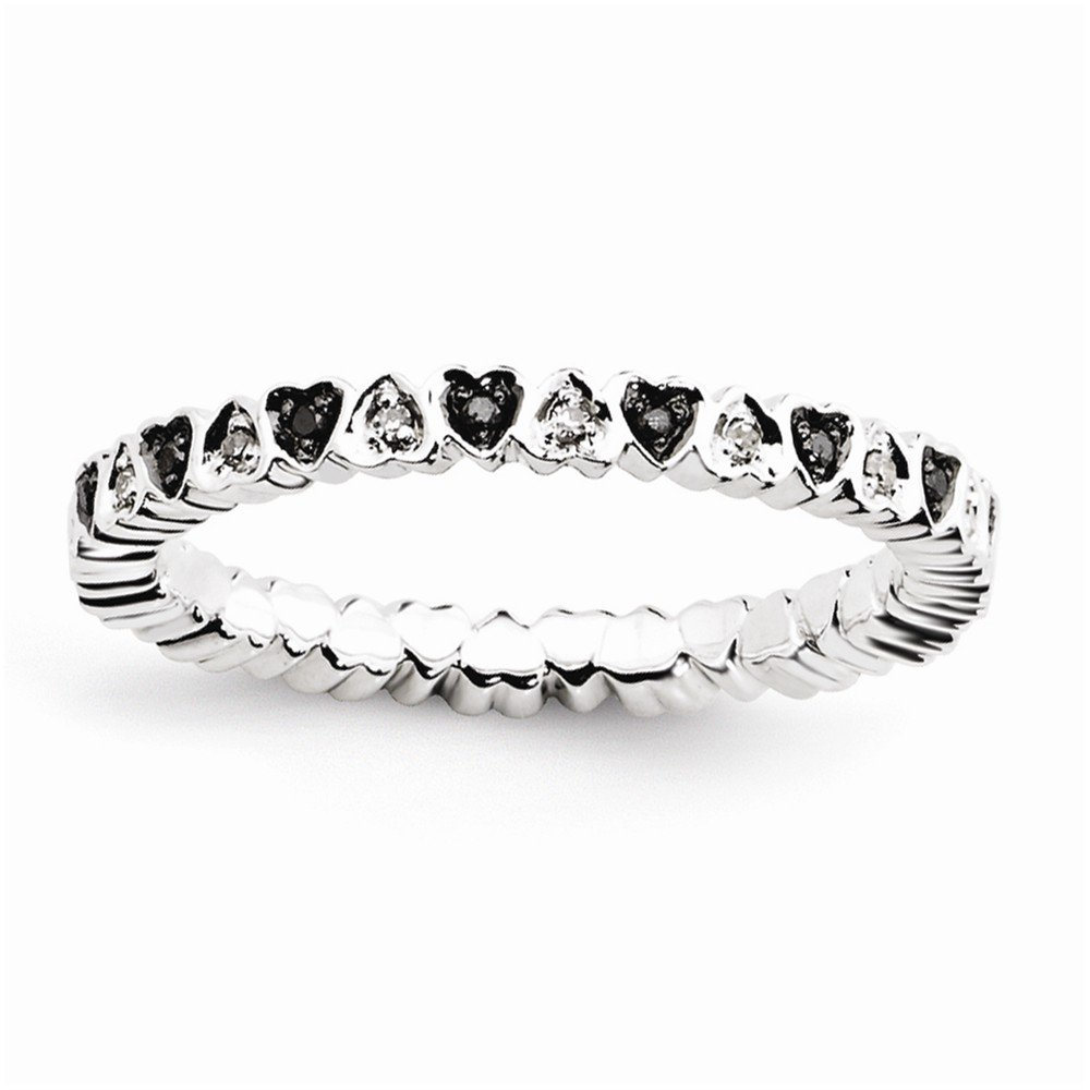 Sterling Silver Stackable Expressions Hearts Black & White Diamond Ring Size 5