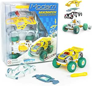 Modarri Turbo Line Team Sharkz Monster Truck | Build Your Car Kit Toy Set - Ultimate Toy Car: Make Your Own Car Toy - for Thousands of Designs - Educational Take Apart Toy Vehicle