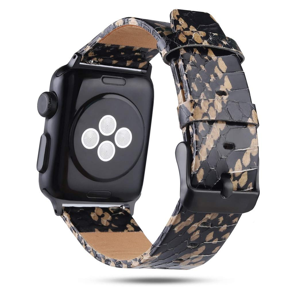 Sodoop Compatible for Apple Watch Band 38mm 40mm, Fashion Genuine Leather Snakeskin Replacement Bracelet Loop Wrist Strap for iWatch Smartwatch Series 4/3/2/1,Women/Men