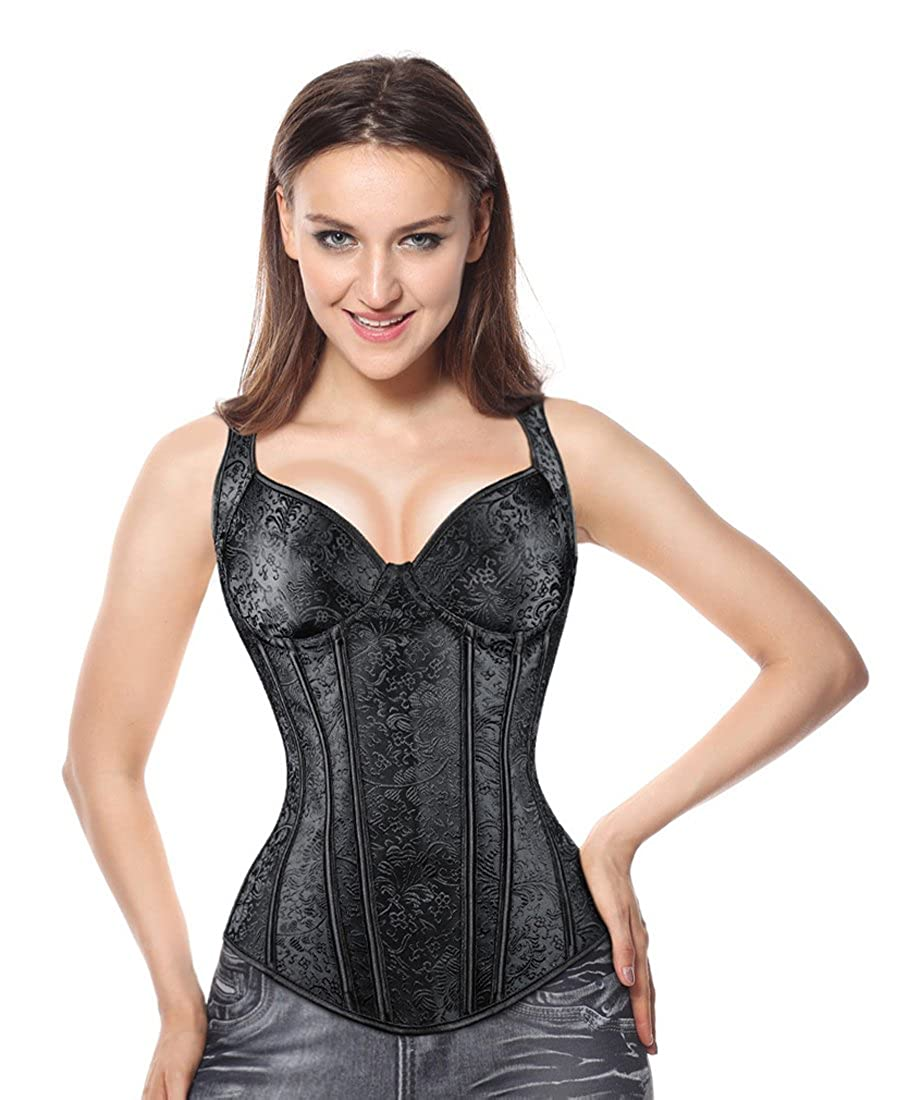 Kimring Womens Gothic Jacquard Shoulder Straps Tank Overbust Corset Bustiers
