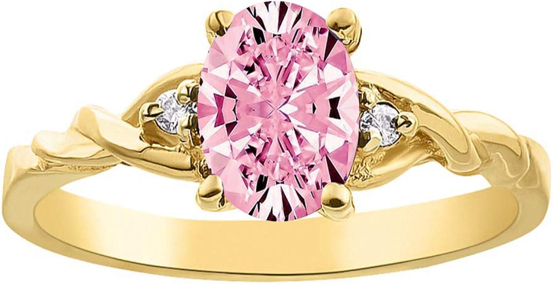 RYLOS - Anillo de mujer con gema de cabujón ovalada y diamantes brillantes auténticos en oro amarillo de 14 quilates - zafiro de estrella negra de 7 x 5 mm, zafiro, rubí de estrella, ópalo, ónix y ojo