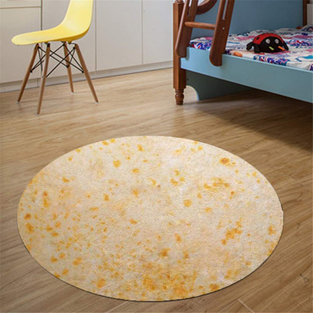 YUBINK Food Creation Mexican Burritos Comfortable Round Flannel Kitchen Anti-Slip Mats Children's Room Carpet - Soft and Water-Absorbing,Anti-Slip and Durable,Safe and Odorless (A)