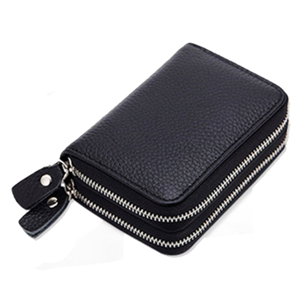 women's Genuine Leather Wallets double Zipper Credit Card slots ladies black purse With 12 Card Slots -Mother's Day gift… (Black)