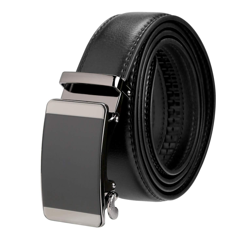 Mens Belt Genuine Leather Automatic Belt Adjustable Ratchet Dress Belt Buckle Black