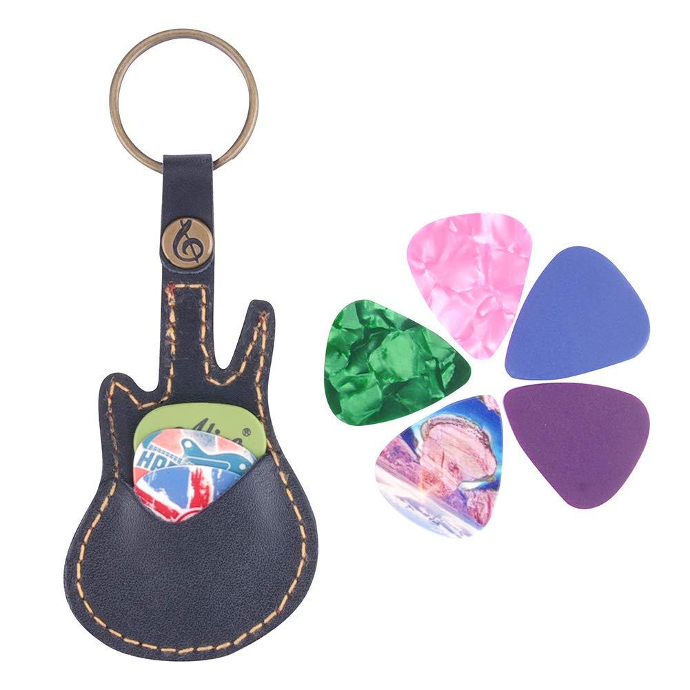 5 pezzi custodia in pelle PU con portachiavi per chitarra acustica Set di plettri per chitarra elettrica basso o ukulele Taglia libera Marrone porta plettri per chitarra