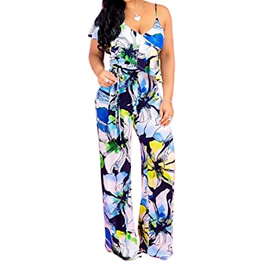 eb8c4c24f0c3 Wancy Jumpsuits for Women Sexy Sleeveless Floral Wide Leg Long Pants Jumpsuits  Rompers with Belt Blue