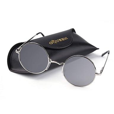 a25f605c8141c8 GQUEEN Lunettes de soleil polarisées classiques Ronde Rétro Vintage Métal  Cadre Lennon pour Homme et Femme
