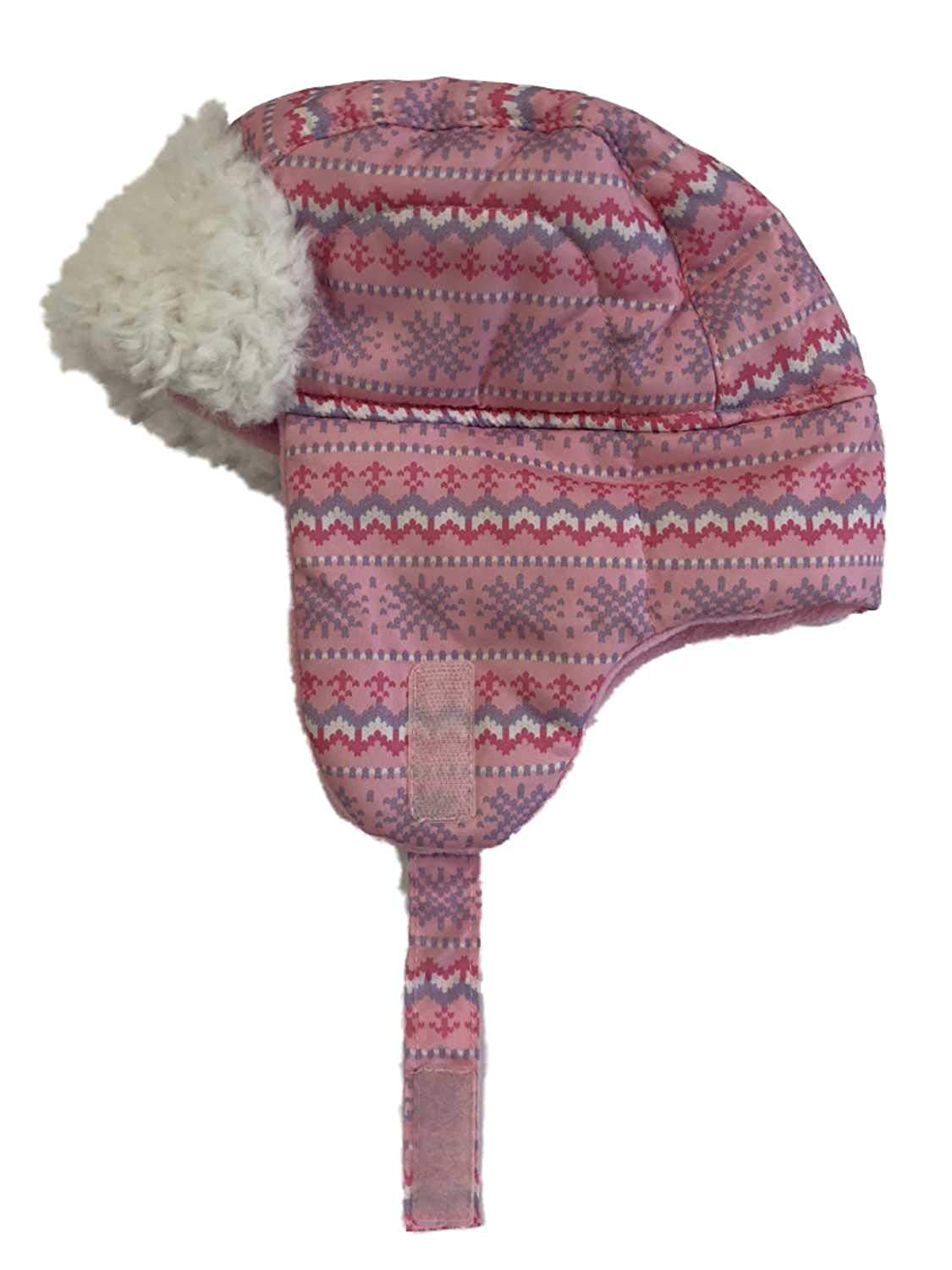 ABC Toddler Girls Nordic Print Pink Trapper Hat with Faux Fur Trim Aviator Cap