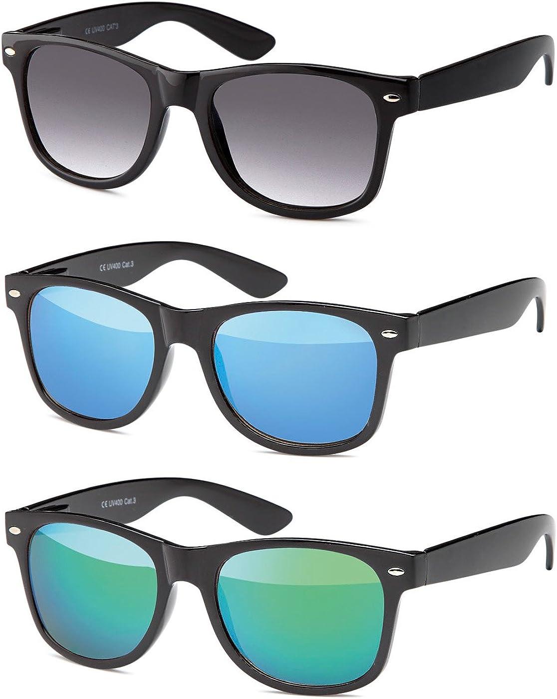 MOKIES Unisex Sonnenbrillen - UV400 Filterkategorie 3 CE Kennzeichnung - Polycarbonat - mit Federscharnier - A-SET Grau verlaufend -