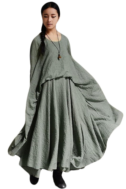 Vogstyle Damen Rundhals Langarm-Kleid mit großer Rand