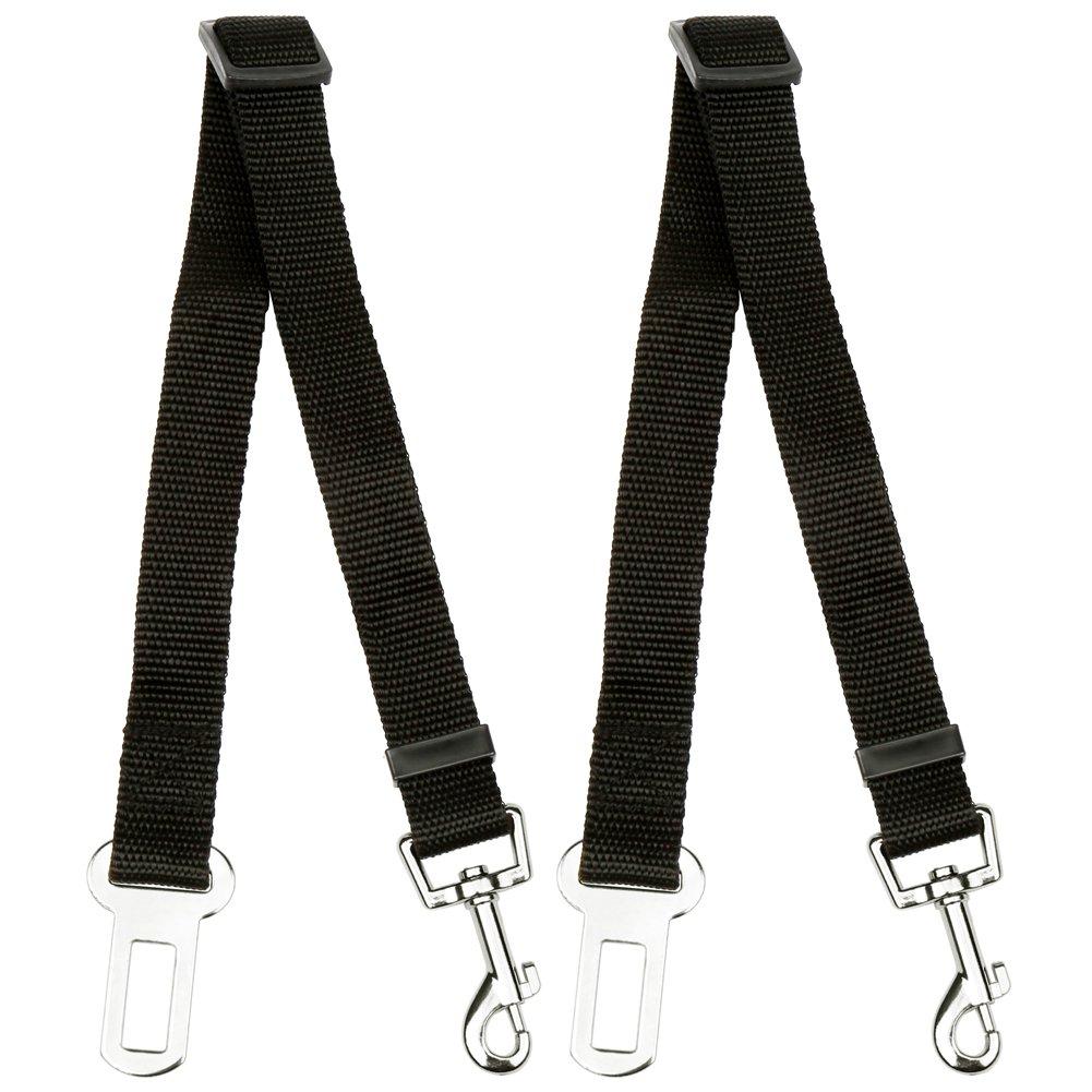 H&S. 2 Dog Car Seat Belt Lead Restraint Harness Seatbelt Attachment Clip Black