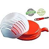 versakitchen Large Salad Cutter Bowl Complete with Peeler – FDA Approved & BPA Free – 60 Seconds Salad Maker – Vegetable / Fruit Slicer & Strainer Dual Use – New Color Red