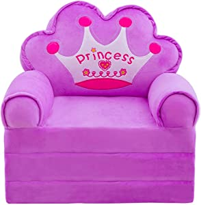 Plush Foldable Kids Sofa Backrest Chair Cute Cartoon Lazy Sofa Infant Toddler Kids's Flip Open Sofa Bed for Living Room Bedroom (Crown Purple)