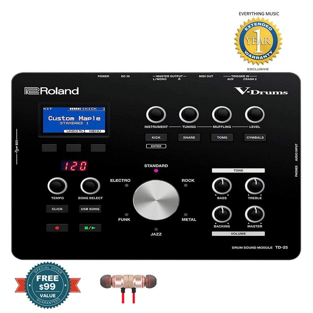 Roland Electronic Drum Modules, Black, Medium (TD-25)includes Free Wireless Earbuds - Stereo Bluetooth In-ear and 1 Year Everything Music Extended Warranty by COR