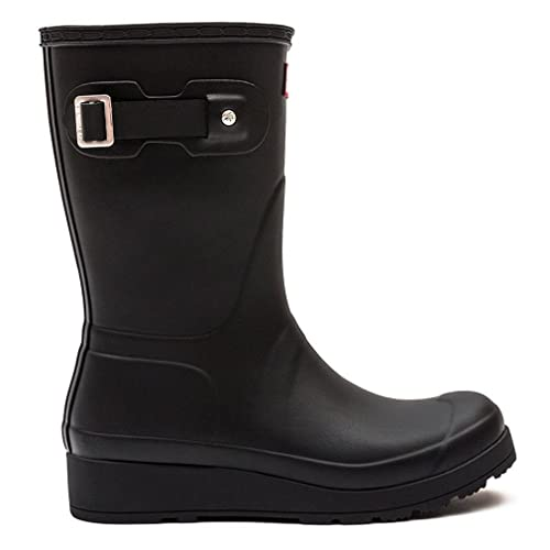 0393a5629e8 hunter Womens Original Short Wedge Sole Winter Rain Wellies Snow Boots -  Black - 8