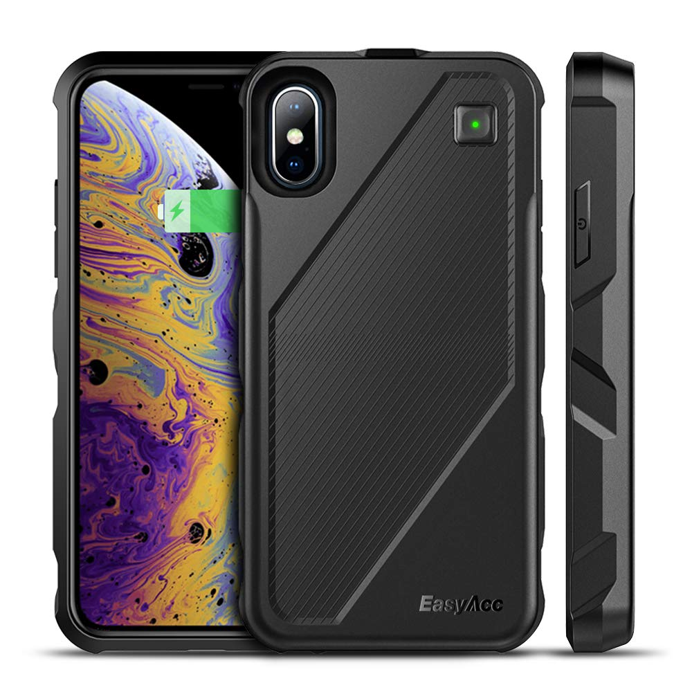 iPhone Xs/X Battery Charger Case Qi Wireless Charging Case, EasyAcc 5000mAh Rechargeable Charging Shell Extended Full Protection Charger Case for iPhone XS/X/10 by EasyAcc