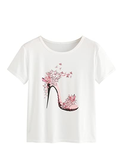 59c264381a6fb SweatyRocks Women s Summer Casual High Heels Print Graphic T-Shirt Tops  White S