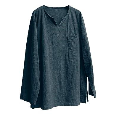 Camisetas con Cuello en V para Hombre, Manga Larga de Lino ...
