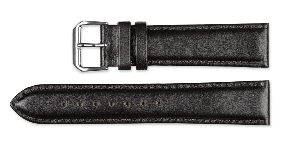 Smooth Leather Watchband Black 12mm Short Watch band - by deBeer by deBeer (Image #2)