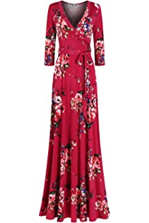 75defcf9ce4 Bon Rosy Women s  MadeInUSA 3 4 Sleeve V-Neck Printed Maxi Wrap Dress