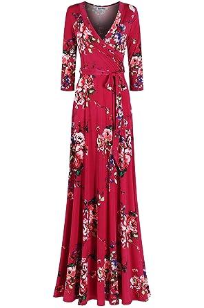 4591930e6dc9 Amazon.com  Bon Rosy Women s  MadeInUSA 3 4 Sleeve V-Neck Printed ...