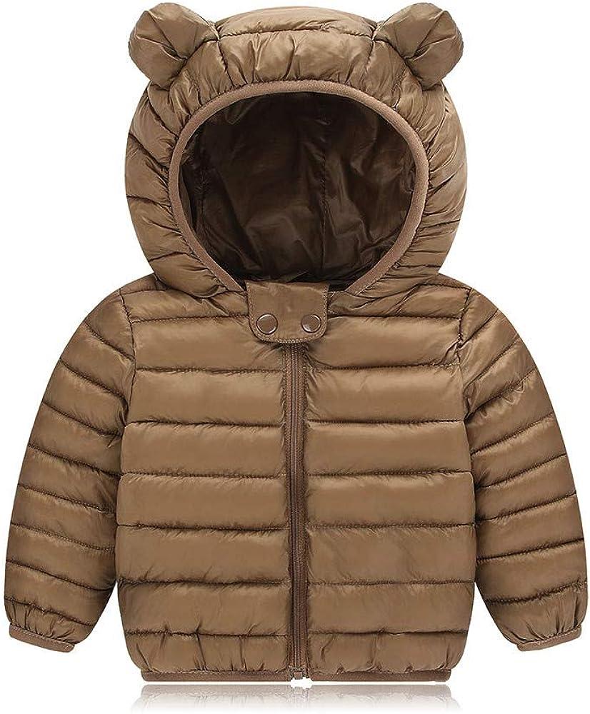 Doublelift Toddler Baby Boys Girls Hooded Coat Fleece Lined Warm Outwear Casual Puffer Jacket