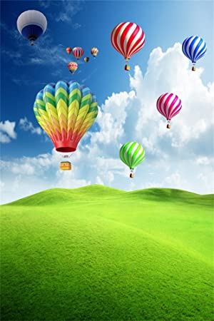 OFILA Hot Air Balloons Backdrop 3x5ft Green Field Valley Blue Sky Children Birthday Party Decoration Preschool Activity Pupils Shoots Newborn Baby Portraits Kids Room Decor Toddlers Photo Studio Props