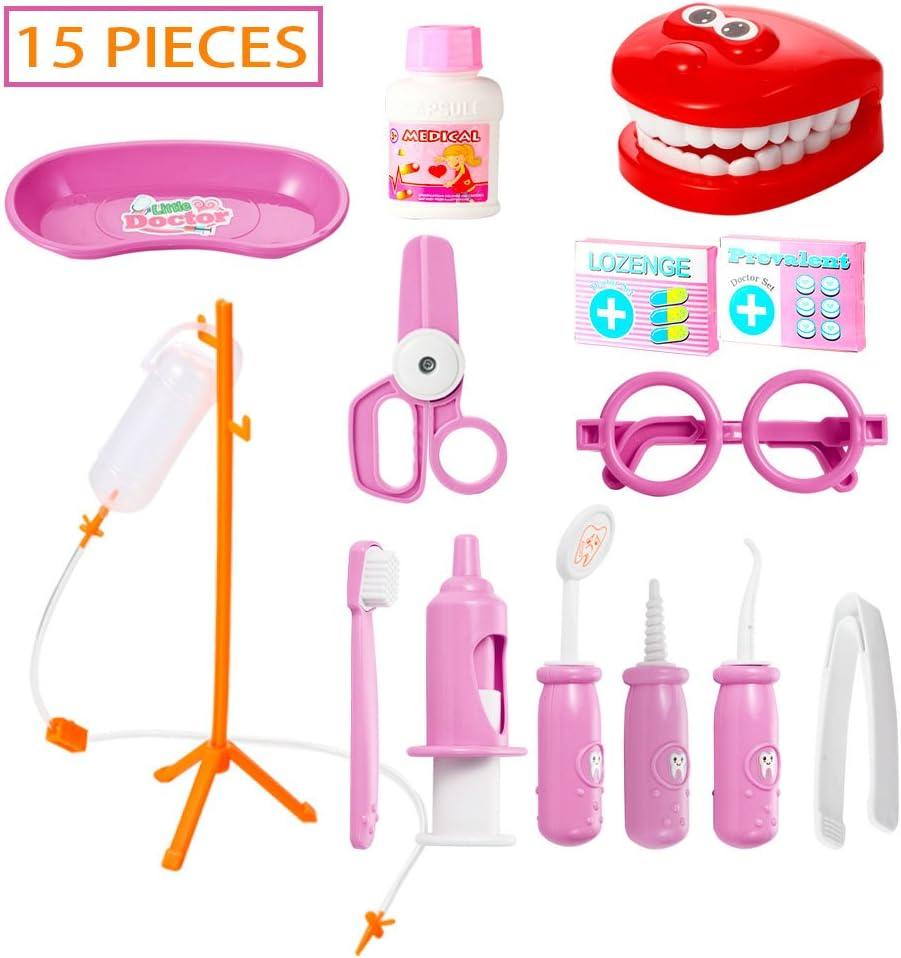 15 Pcs Kit du Docteur M/édicale Jouet pour Fille Garcon 15 Pi/èces Bleues ThinkMax Jouet Docteur Enfant
