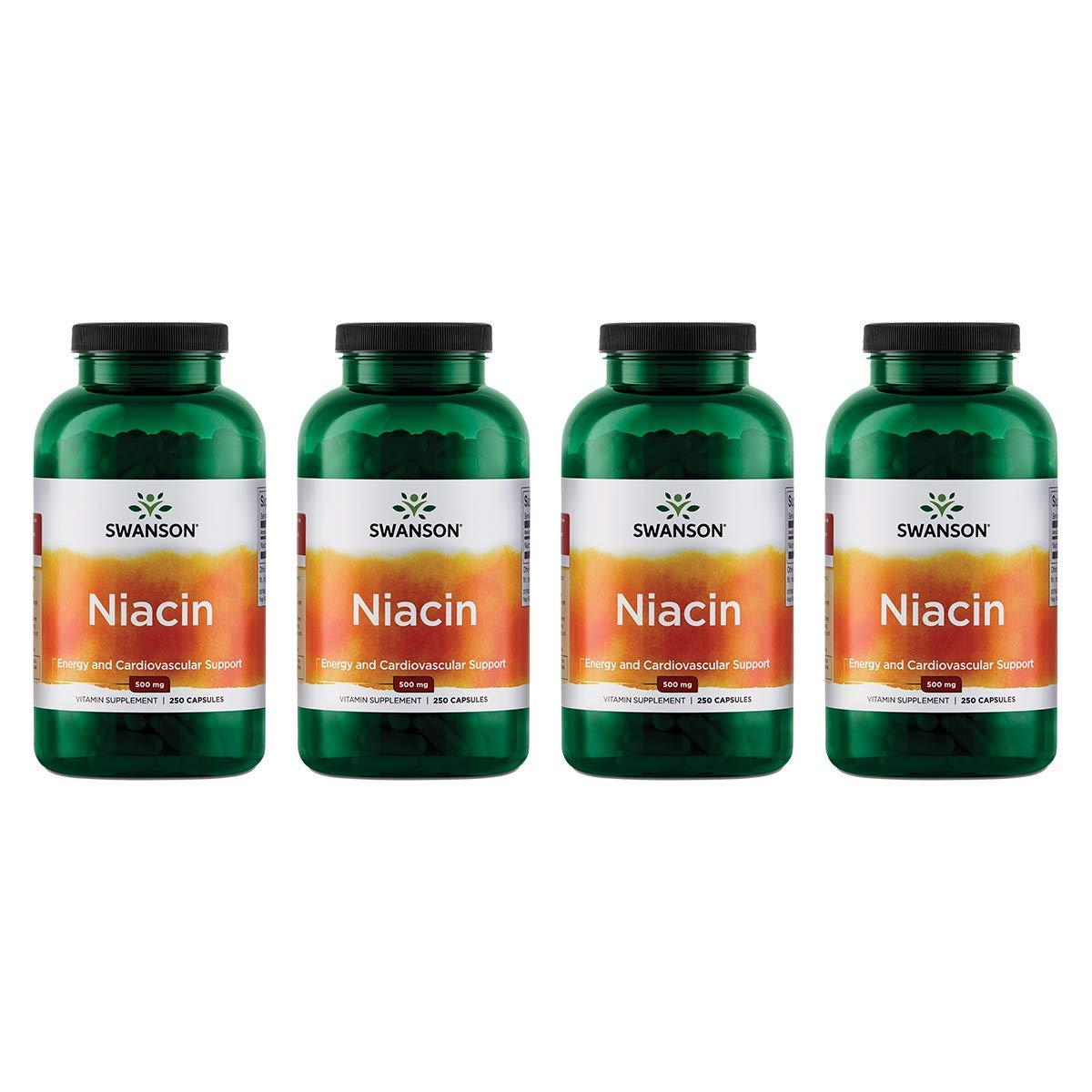 Swanson Niacin 500 Milligrams 250 Capsules (4 Pack)