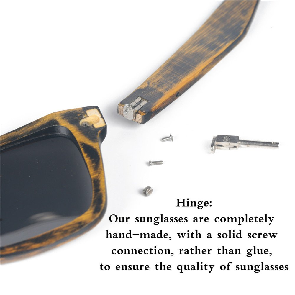 SHELOO Bamboo Wood Polarized Sunglasses Retro Style 100% UV Protection Green Frame