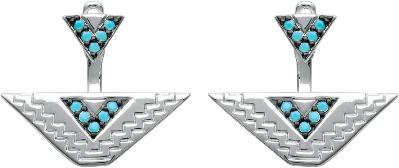 So Chic Joyas© pendientes posavasos Lóbulo Mujer triángulos étnico aztecas piedras negras & azul turquesa plata 925
