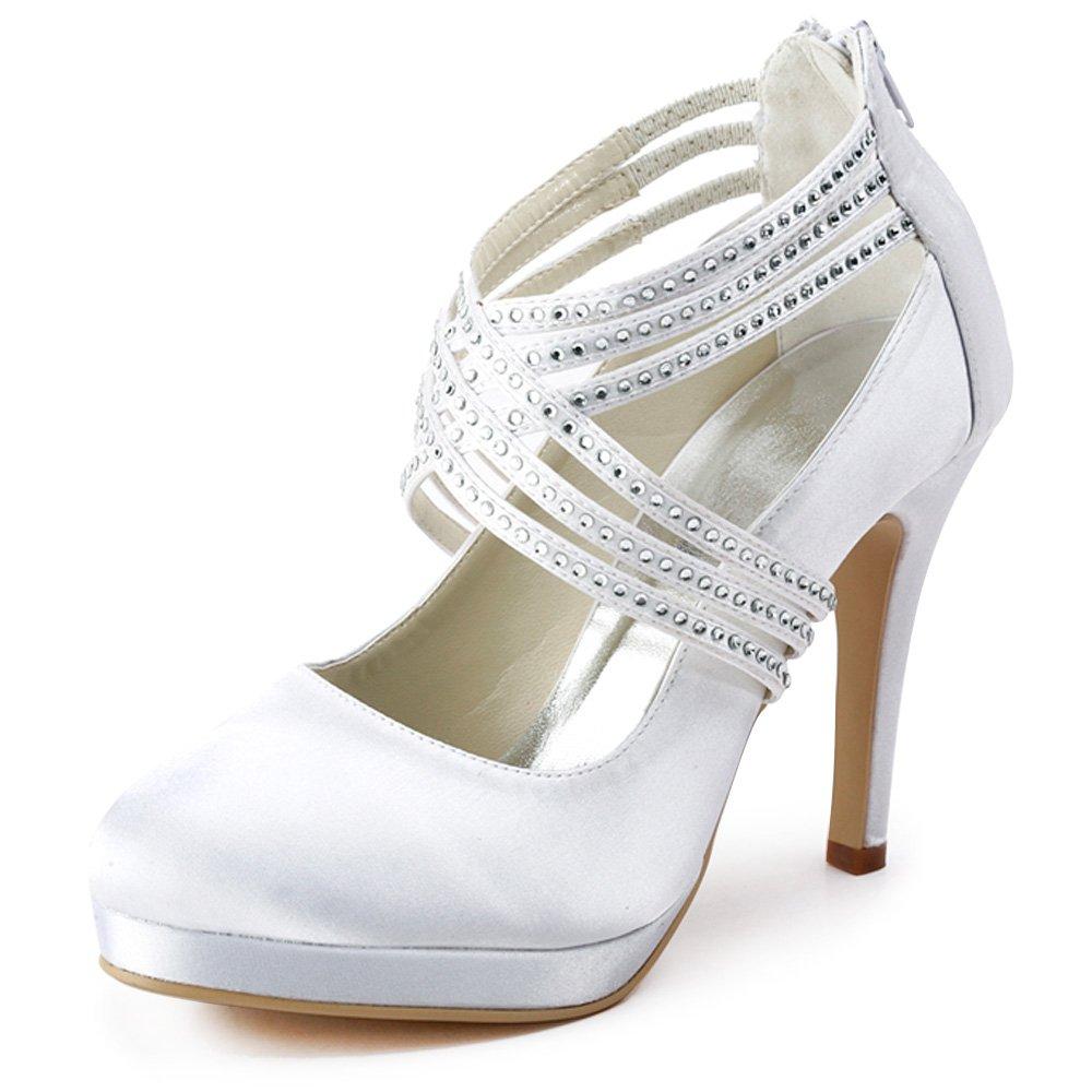 ElegantPark Women High Heel Pumps Closed Toe Platform Strappy Satin Evening Prom Dress Wedding Shoes B00ARD17XO 7 B(M) US White