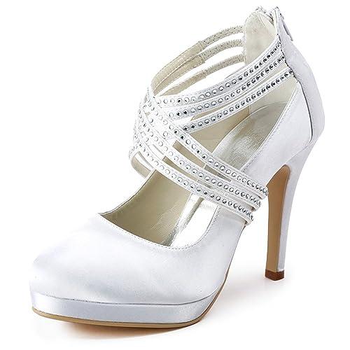 c53345a0 ElegantPark EP11085-PF Zapatos de TACš®n Plataforma Rhinestones Cerrado  Zipper Raso Zapatos de