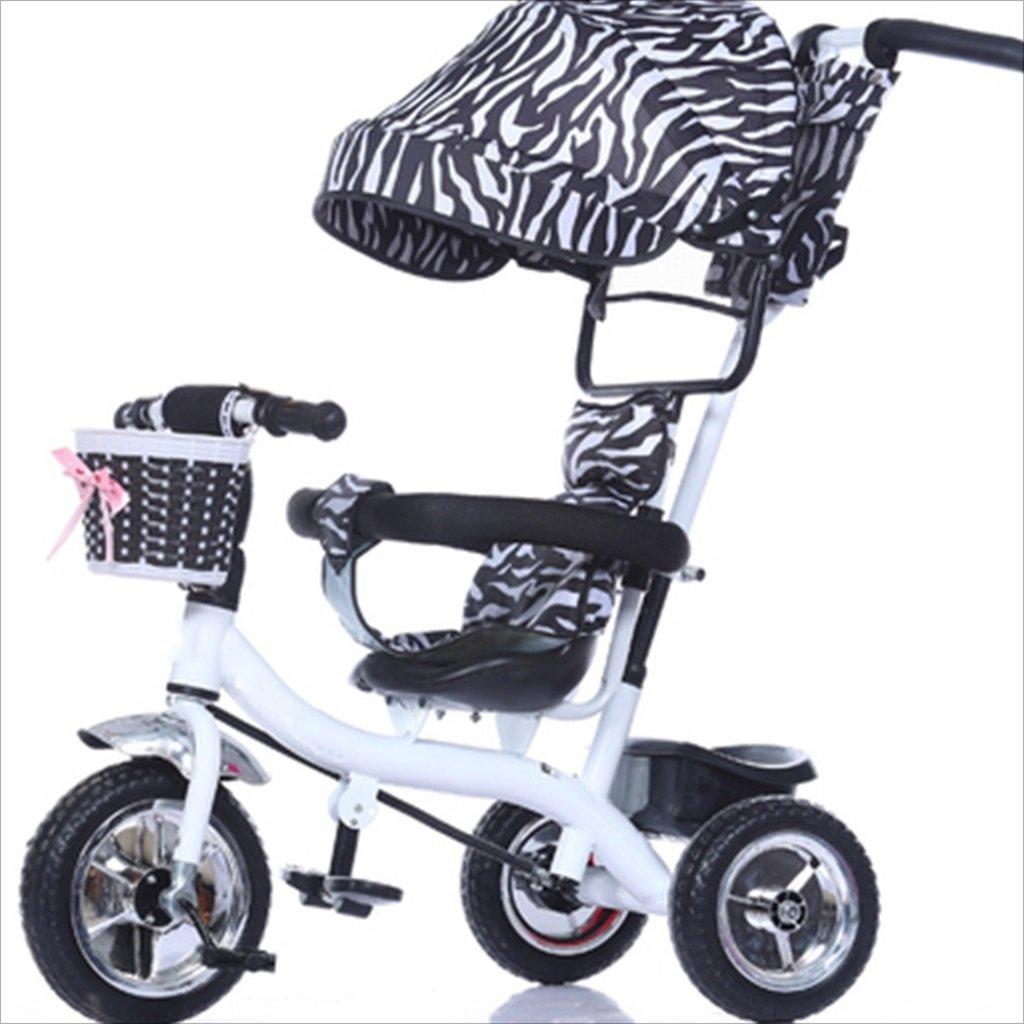 子供の屋内屋外の小さな三輪車自転車の男の子の自転車の自転車6ヶ月 6歳の赤ちゃんの3つのホイールトロリー目覚め、固体プラスチックホイール(黒、白) B07DVJ741J