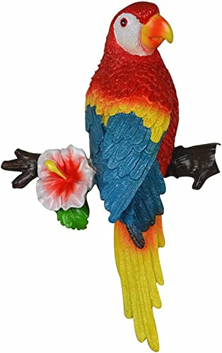 MTinHD Decorative Parrot Wall Mount Sculpture and Statue, Red