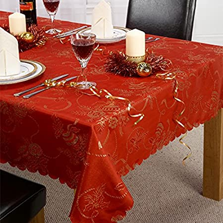 Linens Limited Angelica Christmas Tablecloth, Red, 70 X 108 Inch