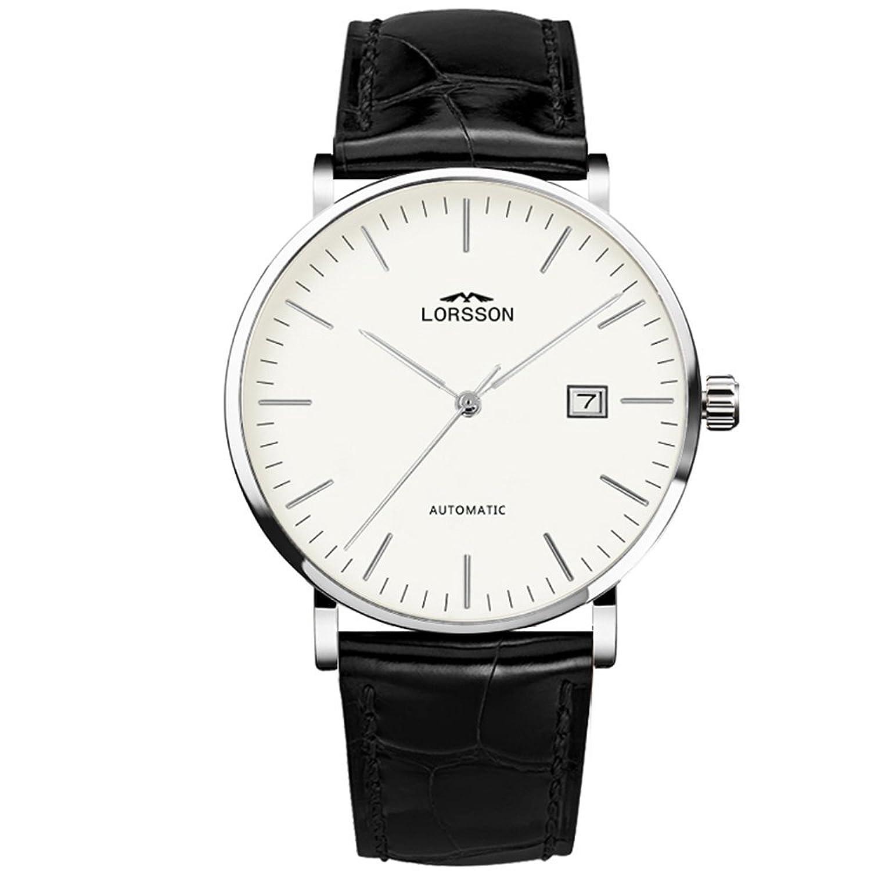 lorssonメンズ自動機械腕時計ホワイトダイヤルアナログディスプレイと成牛革ストラップlc7718l7 a1 B01GKTTI0W