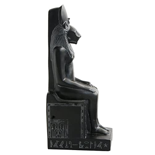 Culture Spot Egyptian Goddess Sekhmet Statue Seated on Throne with Stone Finish Hieroglyphs Indoor Placements Show Pieces Museum replica 8 Inches