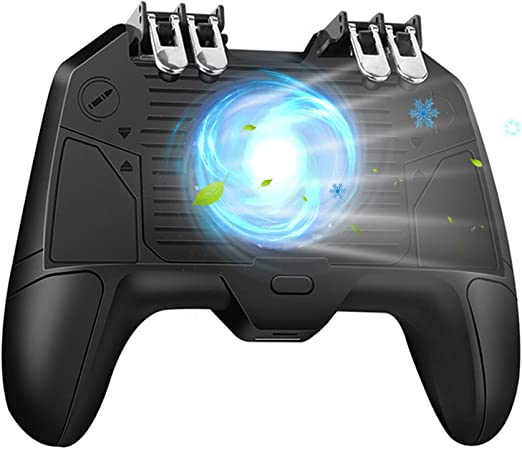 "Amazon.com: [The Latest Version] Mobile Game Controller 4 Trigger with 4000mAh Power Bank Cooling Fan for PUBG/Call of Duty/Fotnite [6 Finger Operation] L1R1 L2R2 Gamepad Trigger for 4.7-6.5"" iOS Android Phone: Computers & Accessories"