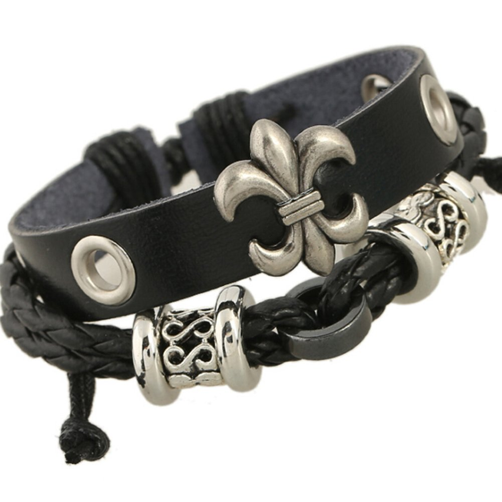 TEMEGO Jewelry Mens Womens Genuine Leather Wrap Bracelet, Vintage Gothic Celtic Cross Charm Cuff Bracelet, Adjustable Fits 7-12 inch, Black Silver
