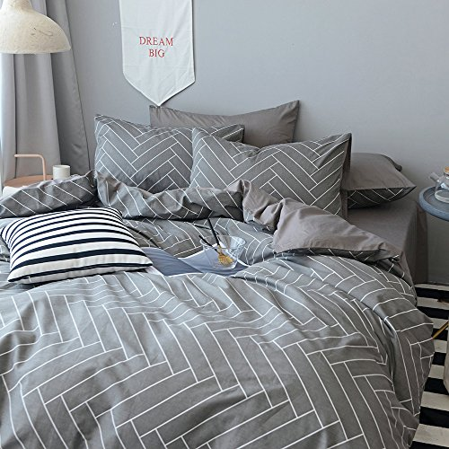 BuLuTu Chevron Geometric Print Boy Bedding Duvet Cover Sets